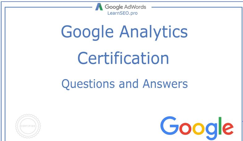 Google Analytics Certification Exam Answers SEO Planner |